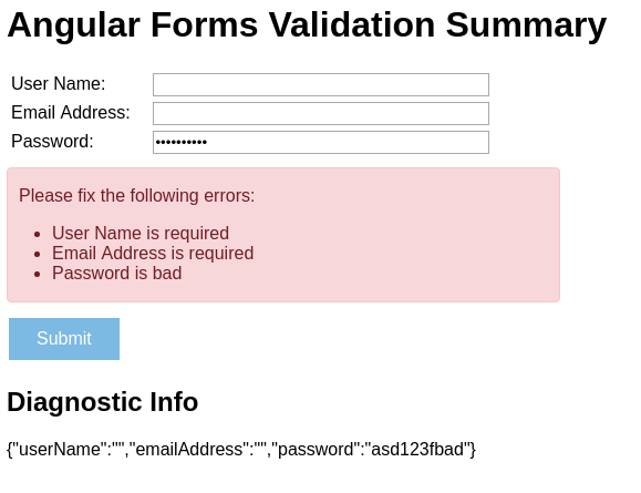 Angular 5 Forms Dynamic Validation Summary